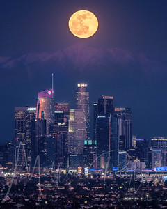 Blue Hour -  Full wolf moon rising over Los Angeles 01-10-20 1 shot with moon centered over USBANK  WHY IS IT CALLED THE FULL WOLF MOON? The full Moon names we use in The Old Farmer's Almanac come from a number of sources, including Native American groups, Colonial Americans, or other traditional North American names passed down through generations. (Note that each full Moon name was applied to the entire lunar month in which it occurred.)  The full Moon for January was called the Full Wolf Moon because wolves were more often heard at this time. It was traditionally thought that they howled due to hunger, but there is no evidence for this. However, wolves do tend to howl more often during winter months, and generally howl to define territory, locate pack members, and gather for hunting.  In addition, Native American cultures typically hold a lot of respect—not fear—for wolves, so this month's Moon name should be viewed with that in mind, too.  Other traditional names for the January Moon include: the Cold Moon, the Old Moon, and the Great Spirit Moon.