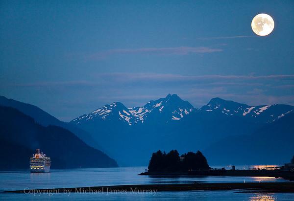 End of the Season, Cruise Ship Departs Juneau Down Gastineau Channel, Juneau, Alaska.