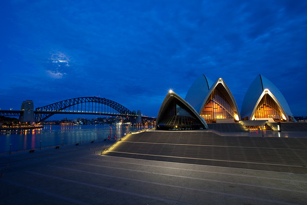 Sydney Opera House and Harbor Bridge at Sunrise