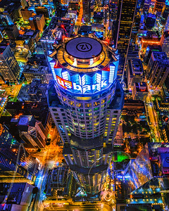 The two doorways - US Bank tower in Los Angeles California aerial view at night.  Print available as a metal print