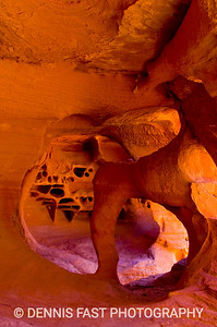 VALLEY OF FIRE SANDSTONE FORMATION.  Unique caverns abound in places like Valley of Fire State Park in Nevada. The American Southwest has been over-photographed, yet it's appeal remains as strong as ever.