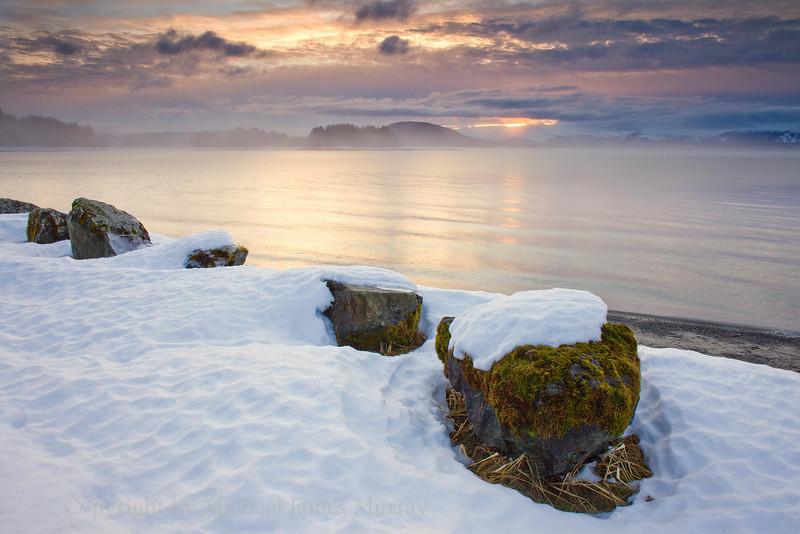 Snow-Capped Rocks on Eagle Beach, Lynn Canal, Alaska