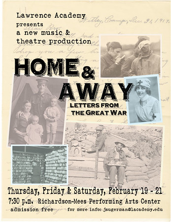 HOME & AWAY was a new production created during the rehearsal process in a collaboration between actors, musicians and directors. The idea sprung from actual letters written during World War I and took us on an exploration of the horror and absurdity of war as well as the connections between people that can't be broken.