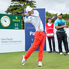 "Guan Tianlang from China hitting off the 1st tee on Day 1 of competition in the Asia-Pacific Amateur Championship tournament 2017 held at Royal Wellington Golf Club, in Heretaunga, Upper Hutt, New Zealand from 26 - 29 October 2017. Copyright John Mathews 2017.    <a href=""http://www.megasportmedia.co.nz"">http://www.megasportmedia.co.nz</a>"