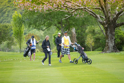 Denzel Ieremia's caddy with Janet Mathews (walking scorer), Denzel Ieremia and Mike O'Gorman on the 1st day of competition in the Asia-Pacific Amateur Championship tournament 2017 held at Royal Wellington Golf Club, in Heretaunga, Upper Hutt, New Zealand from 26 - 29 October 2017. Copyright John Mathews 2017.   www.megasportmedia.co.nz