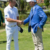 """Luke Brown from New Zealand talking to the former Prime Minister of New Zealand, John Key on the 3rd day of competition  in the Asia-Pacific Amateur Championship tournament 2017 held at Royal Wellington Golf Club, in Heretaunga, Upper Hutt, New Zealand from 26 - 29 October 2017. Copyright John Mathews 2017.    <a href=""""http://www.megasportmedia.co.nz"""">http://www.megasportmedia.co.nz</a>"""