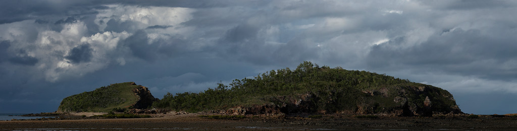 Redcliff Island at low tide. Stormy looking clouds rolling in, very late in the afternoon. Five shot panorama.