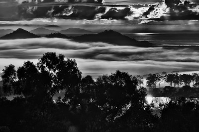 Telephoto sunrise at Belmunda, straight into the sun.. It looked very good in colour, unfortunately it was a very, very hazy morning. Looked pretty ordinary so I converted it to B/W. That certainly got rid of the haze.