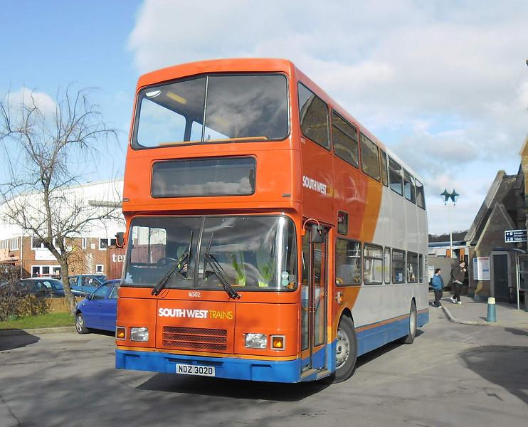 Stagecoach South 16502 - NDZ3020 - Lymington Town railway station - 15.2.12