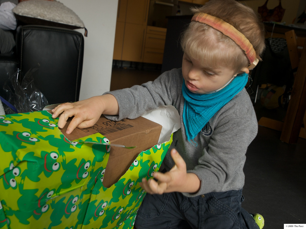 Monday 19th Oct 2009 - Cai now looks a bit more serious about his unwrapping job