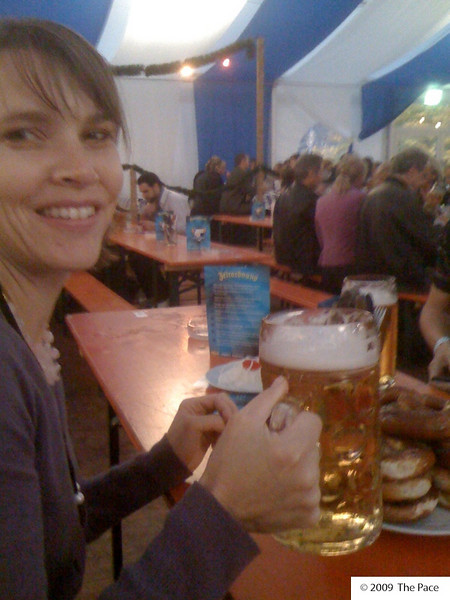 Monday 26th Oct 2009 - kerstin enjoys holding some coloured water, we all enjoyed drinking it.<br /> <br /> Oktoberfest came to Baden for the first time and it seems they got most of it right, the beer was Ok but could have been better but the atmosphere was fantastic!