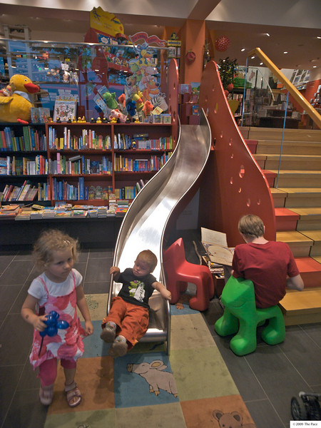 Wednesday 29th July 2009 - Cai has fun in a childrens book shop on the german side of the lake of constance