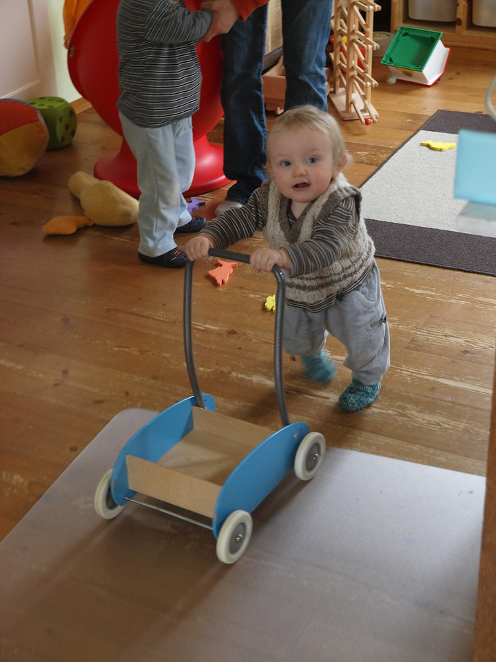 Sunday 29th Mar 2009 - Luc takes his first steps with a trolley.<br /> <br /> All is normal, we seemed to have found the problem with Luc waking up so often, he was cold!, apart from that all seems to be going ok, we even managed to do some work on the house. Don't forget to vote for Luc, it closes on Tuesday.