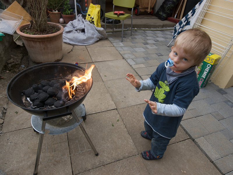 Monday 27th April 2009 - Cai warms his hands on the Barby, Jason says he is copying him.