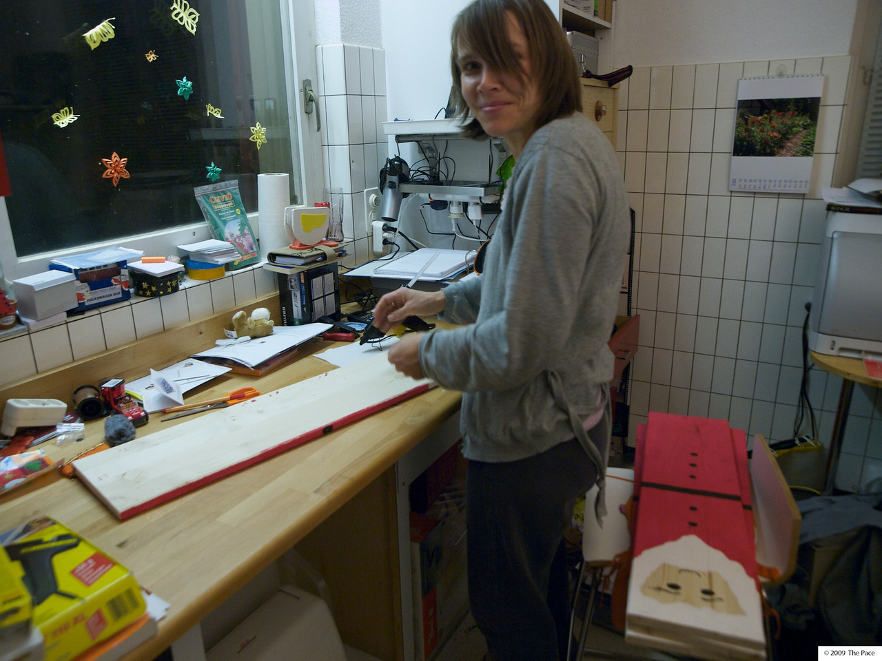 Tuesday 8th December 2009 - Kerstin works on her advent calanders