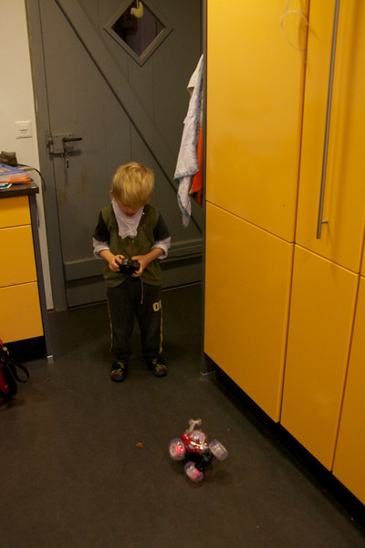 Monday 18th October 2010 - Cai has to wait until he is home before he can play with his  birthday present