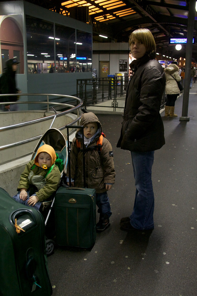 Thursday 30th December 2010 - Waiting for the train to the airport, we are all nervous as we want to see how Cai copes with Flying