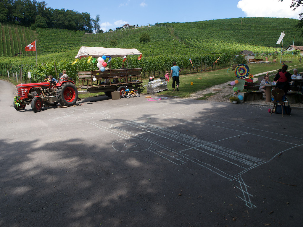 Sunday 18th July 2010 - the real and the chalk version of tractor and trailer