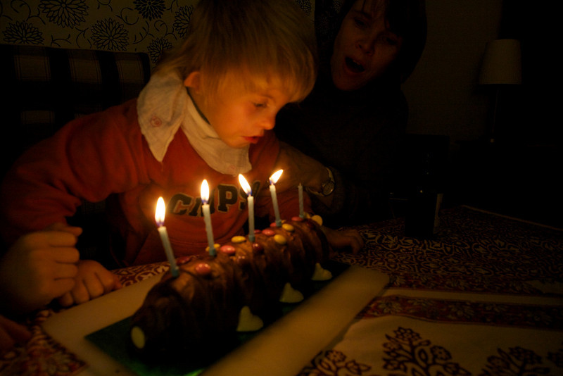 Monday 18th October - Cai blows out his birthday cake candles