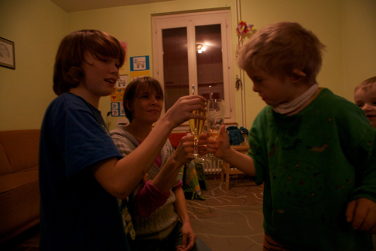 Thursday 30th December 2010 - Cai very quickly learnt to do a toast!