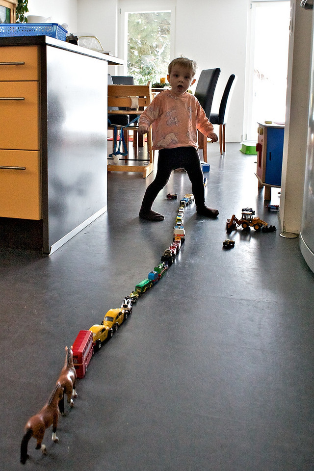 Sunday 19th December 2010 - Luc builds  a big train at home, not having enough carriages he learns to improvise