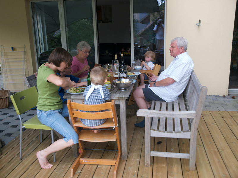 Sunday 11th July 2010 - Our first guests on the new decking, hmm seesm to be holding up ok