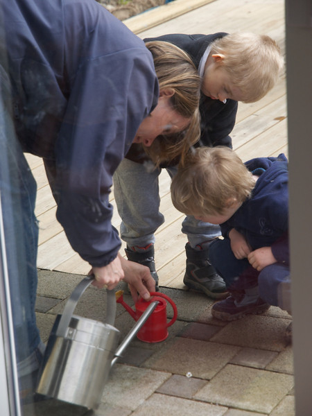 Monday 28th March 2011 - The boys help with the watering