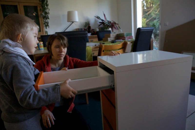 Monday 21st March 2011 - Cai shows his mum how to put IKEA furniture together properly