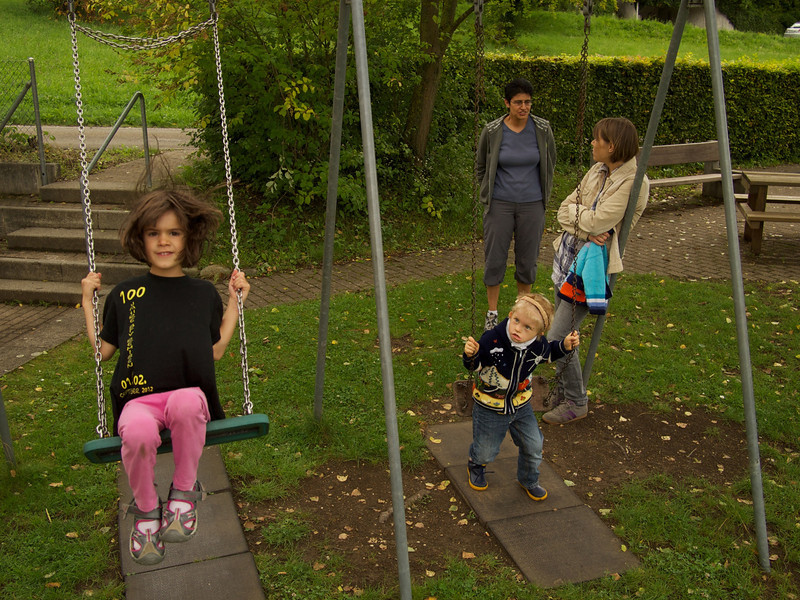 Monday 8th Aug 2011 - Time for a swing!<br /> <br /> Thankfully Cai is now back at school and we get our evenings back, he was very tired and in bed shortly after 8 so once again we have time to do some of our things, like upload pictures etc ;-).<br /> <br /> The main events since europa park have been an impromtu visit by Stuart and his family travelling through switzerland and stopping overnight, that along with a friend staying with Oliver menat we had 15 people sleeping in the house plus the dog. The day after we went for a walk along the river and had a BBQ and swim. Luc is loving the water but is not to sure about the temperature.<br /> <br /> We alos gave the boys play house a lick of paint and made some doors and flags  for it so now its more like a den and they are playing in it more. The other boys have also gone back to school now, and Mike my eldest has found a new job after being let down by his current employers