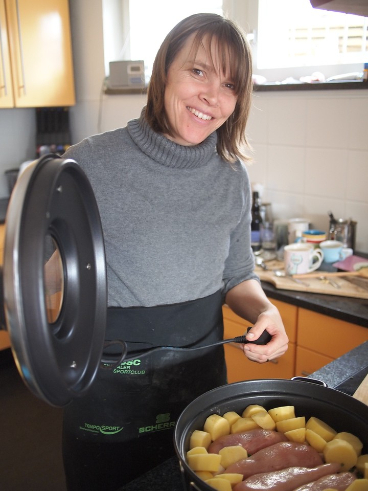 Sunday 26th Feb 2012 - Kerstin uses the ramosca for the first time to cook chicken potatoes carrots etc..  Yummm it was very tasty