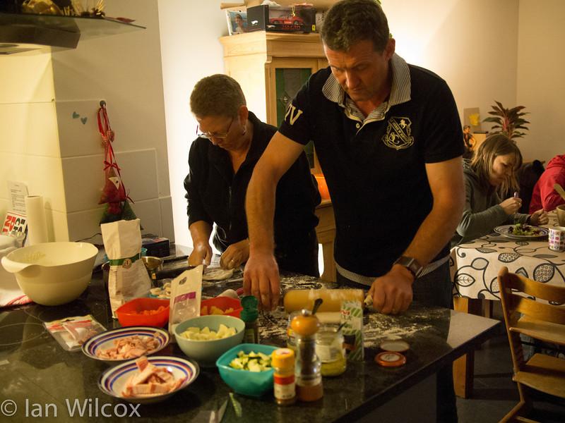 Monday 29th Oct - Stuart and Kerry enjoy making pizza