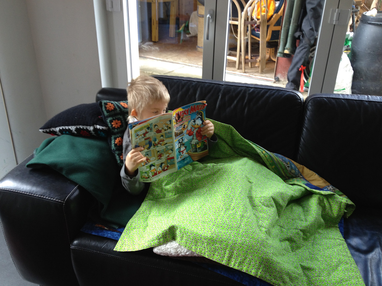 Sunday 22nd April 2012 - Cai catches up on the Disney news while resting his leg