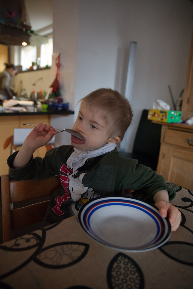 Sunday 25th November 2012 - Cai is feeling hungry as he sits with his empty bowl