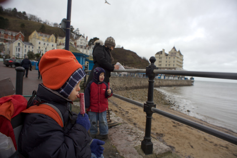 """Sunday 19th Feb 2012 - Cai asked for an iced lolly after seeing Luc's, so of course we bought him one straight away, he didn't finish it so it wa handed to Luc who was """"mugged"""" by a seagull who took it from his hands as I was untying the dog from the seat."""