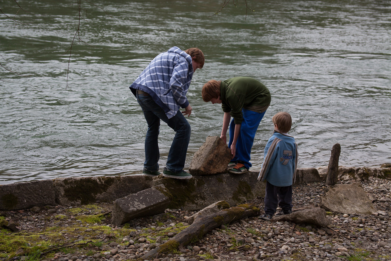 Tuesday 10th April 2012 - Skimming stones - no don't tell them they will eventually realize a small stone is better