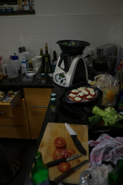 Sunday 4th November - The thermomix is ready for action, sauce in bottom which steams the rice and then the broccoli etc are in the large black tray above also cooked by steam with the chicken tomotoes and cheese on top of that AND its also very easy to clean
