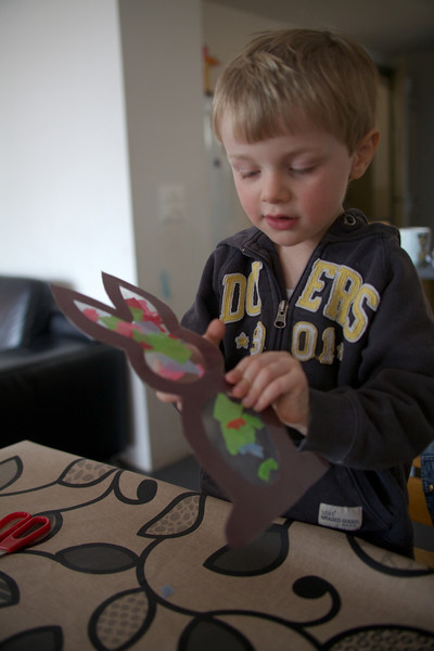 Sunday 11th March 2012 - Luc works on an easter bunny