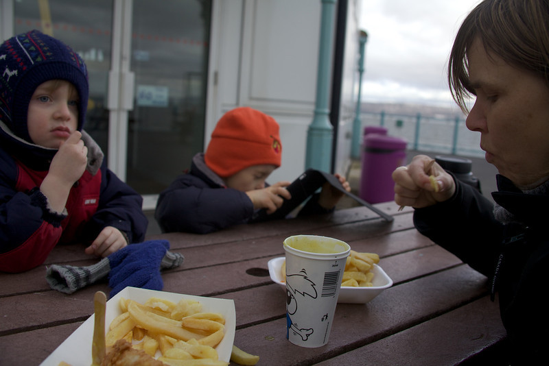 Sunday 19th Feb 2012 - Fish and chips at the seaside, in this case the idea was better than than the result