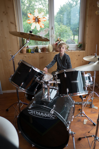 Sunday 16th Sept 2012 - Luc tries out the drum kit