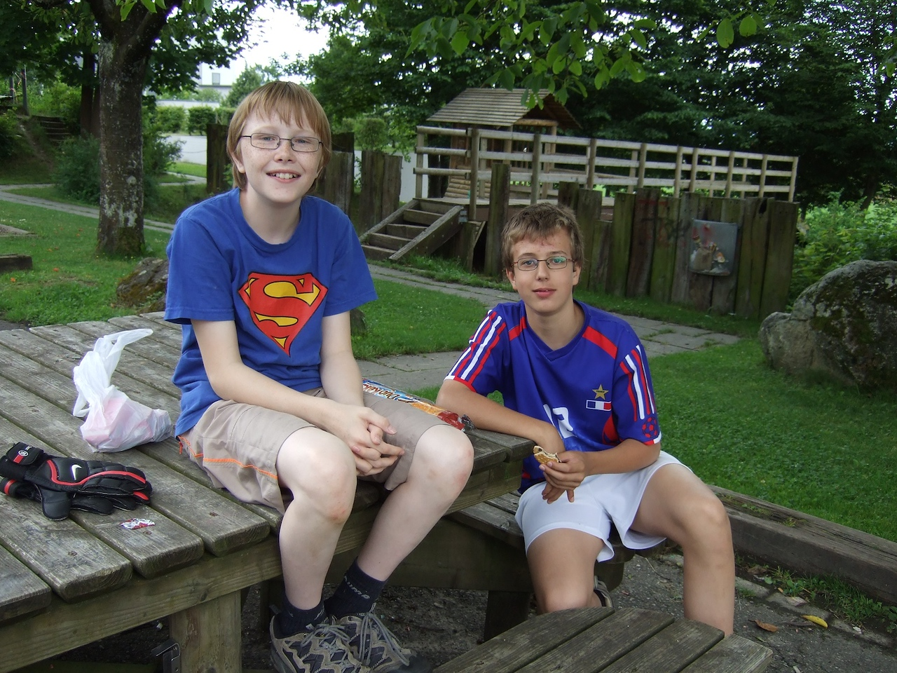 Saturday 26th July 2008 - Jason enjoys a rest from football with his French exchange student pal Remy