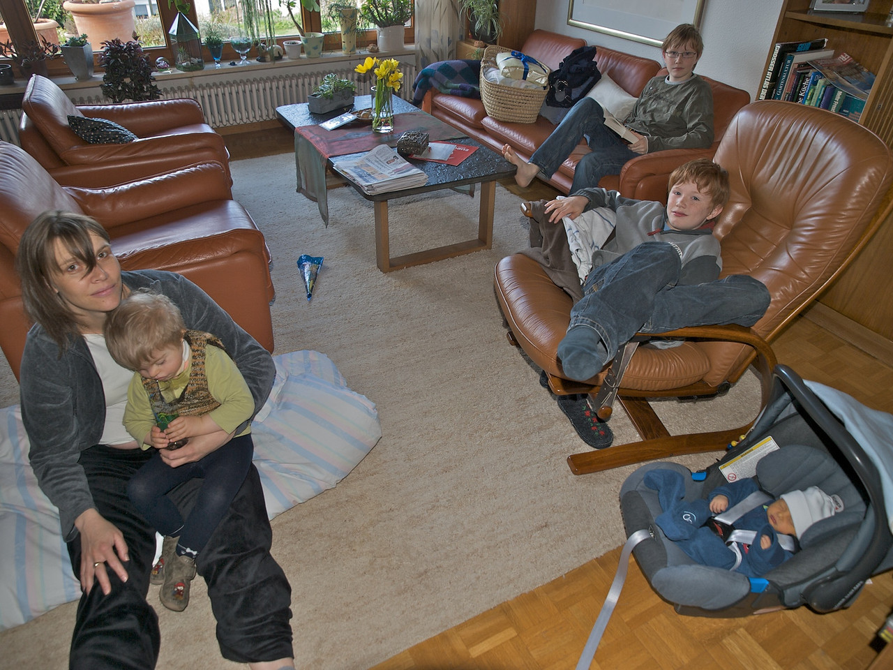 Sunday 13th April 2008 - Almost the full set, just need my eldest son Michael to complete the picture.<br /> <br /> Luc and Kerstin are doing fine, kerstin is happy to be home and Luc seems to have settled in quickly, cai however like the other boys seem a little bit jealous - I am sure it will wear off soon.