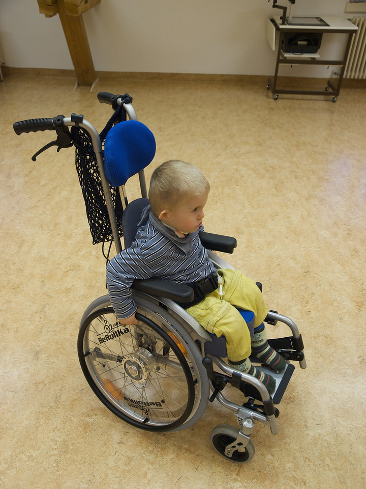 Sunday 9th Nov 2008 - Cai pinches some wheels, Kerstin sat him in this wheelchair and immediately Cai started wheeling himself around, managing to turn etc without instuction.