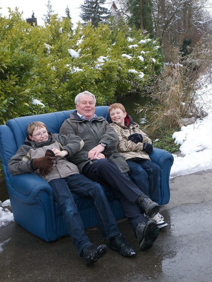Sunday 14th Dec 2008 - Sofa so Good. <br /> <br /> This week saw the birthday of Kerstin's sister which meant we got invited for a meal. As usual we went for a walk to make room for dessert and found this sofa by the side of the road, the boys needed  no prompting to sit on it.<br /> <br /> <br /> Otherwise, things are busy in the runup to christmas.