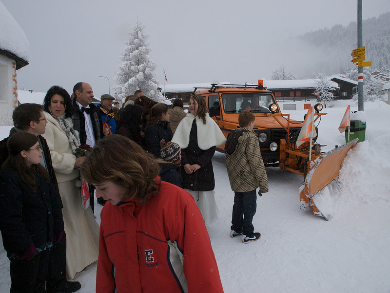 Sunday 21st Dec 2008 - Snow ploughs through wedding party!<br /> <br /> We left Cai in the capable hands of the spitex team. Luc with his grandparents and headed into the swiss mountainds for a wedding this weekend. We bemoaned the fact that it was just before christmas and the weather was terrible, but we changed our minds once we were there, typically though on the only day this year it woudl have been possible to have a decent lie in we had to clear our room by 10am.<br /> <br /> The journey up was quite exiting even with my winter tyres, although they are getting old now, we decided to put chains on to come down only to find the roads totally clear again. <br /> <br /> We wish you all a festive christmas whether you celebrate it our not, and remember its a time to be kind and think of others.<br /> <br /> By now you will be starting to realise that we have not managed to get the christmas cards out yet, if you add to that the missing thankyou cards for Luc's present we are are suffering like the economic climate, a minor recession. We hope you understand and wish you all a Merry Christmas form<br /> <br /> Ian Kerstin and the boys!