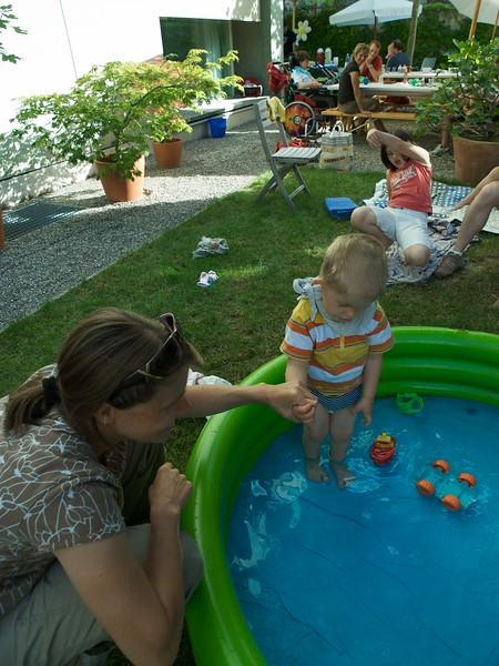 Sunday 8th August 2008 - Cai gets his feet wet at the BBQ