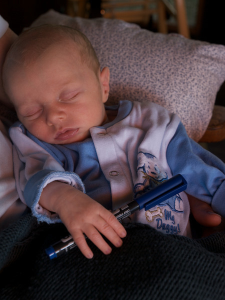 Monday 19th May 2008 - Luc asleep with a pen, Hmmm I wonder if thats why the roof calculations were out