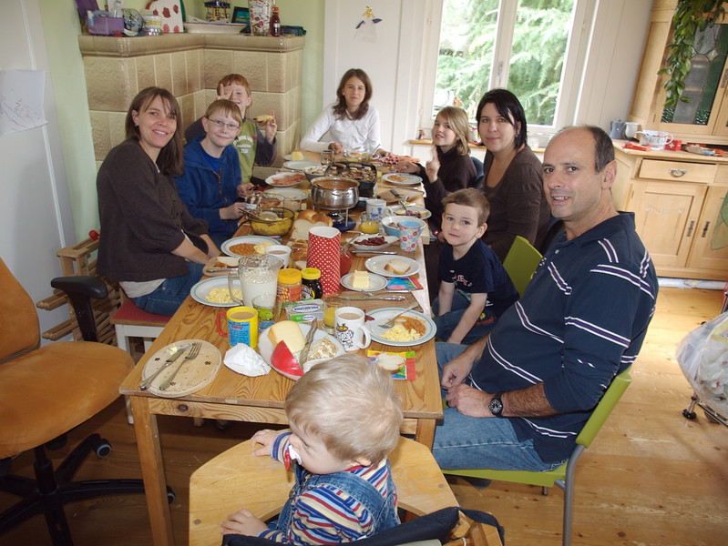 Monday 29th Oct 2007 -  Some friends join us for a Brunch, a mix of a british and swiss breakfast, and it was lovely.<br /> <br /> We currently have no roof over our heads - literally, it is being replaced in time for winter, so no more buckets required and it should make the house warmer. <br /> <br /> Cai continues to progress and we have a ate for his hearing aid fitment, frustratingly not until december, but at least we have a date, he will also have an eye test. he has finished his jabs now, after discussion with the doctor we gave the combined version.<br /> <br /> Kerstin is pregnant again, we have done all the tests possible and all is ok with the new one, you will have to wait now 6 months to see if its a boy or a girl. How It happened I have no idea and Kerstin won't say ;-)<br /> <br /> Michael is playing tennis for Powys now and doing well at school, or so he tells me,  jason and Oliver are also doing well at school, kerstin and I went to school with Jason last week, we sat in on his maths and french lesson during an open week. Oliver is waiting to move up a group in Tennis.