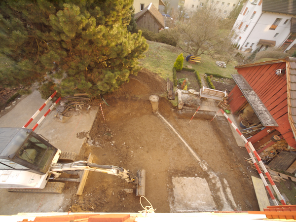 Monday 28th Jan 2008 - this is the back garden now - hole for foundation nearly finished