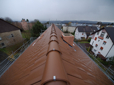 Monday 19th Nov 2007 - a view of our new roof from the top of the scaffolding, we know the chimney is not finished, they are waiting for the new heating to be installed before capping it properly.