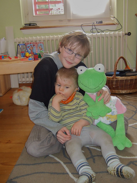 Wednesday 13th Feb 2008 - Cai Jason and Fridolin the frog - and before you ask the frog is the one on the right!